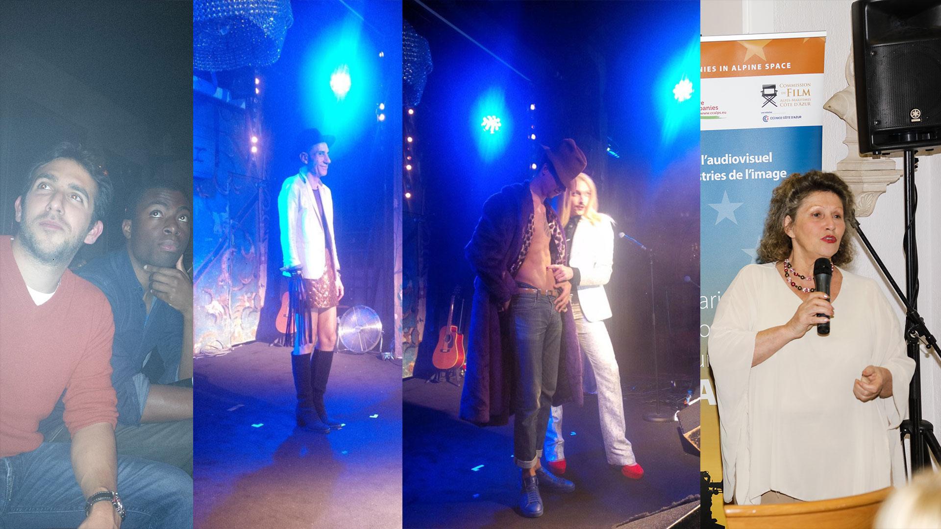 Défilé de mode du styliste Lutin en Folie et du performer Am☆r dans le cadre du prix Zind-Kala-Wasté 2015 - Evelyne Colle co-organisatrice du prix Zind-Kala-Wasté Pub and Clip 2015